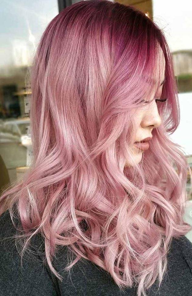 полностью розовое омбре