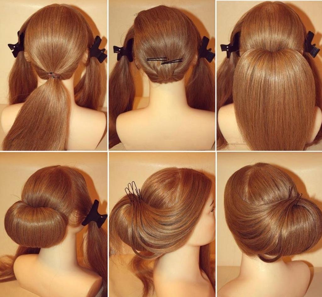 низкий пучок волос