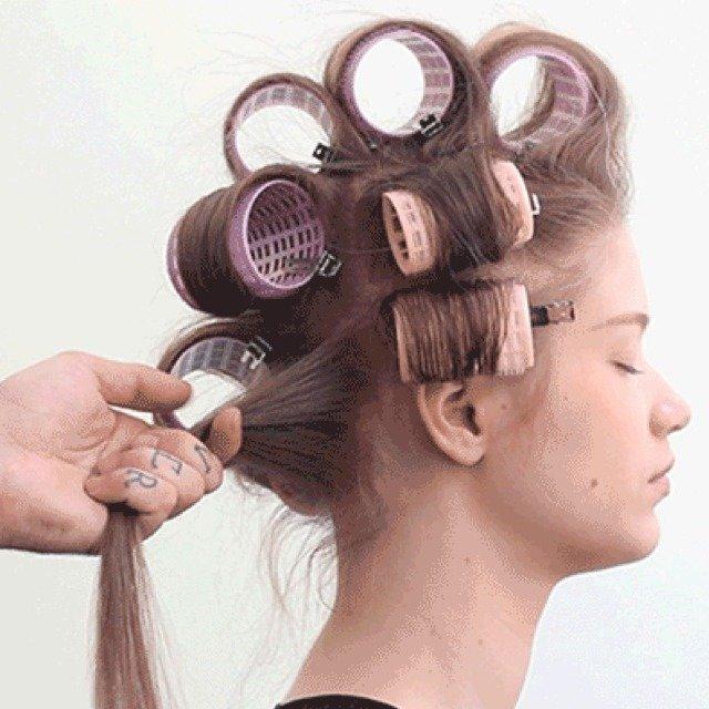крупные бигуди для длинных волос