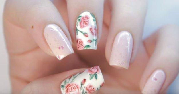 красивый маникюр с розой