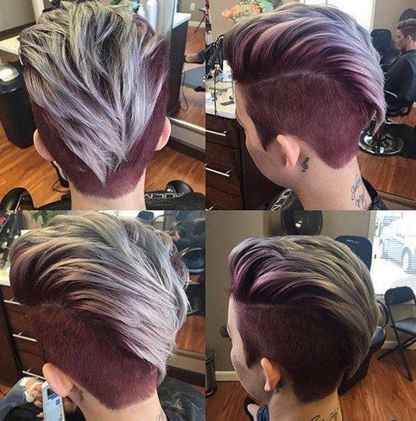 двухцветное окрашивание волос на средние волосы