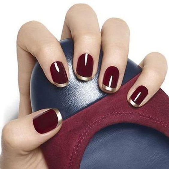 Ногти бордовые, дизайн