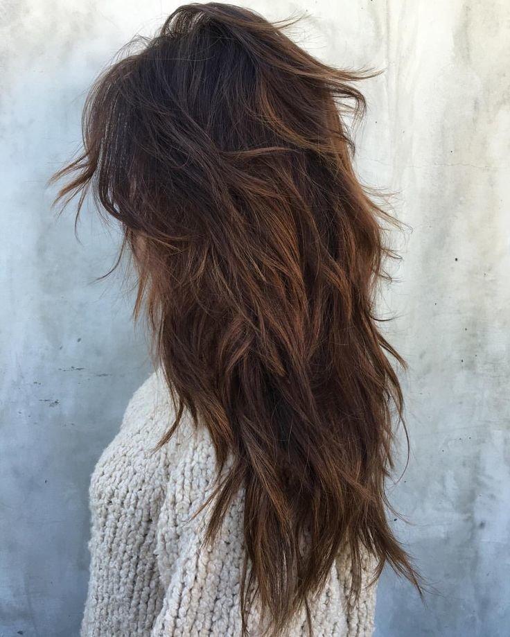каскад длинные волосы