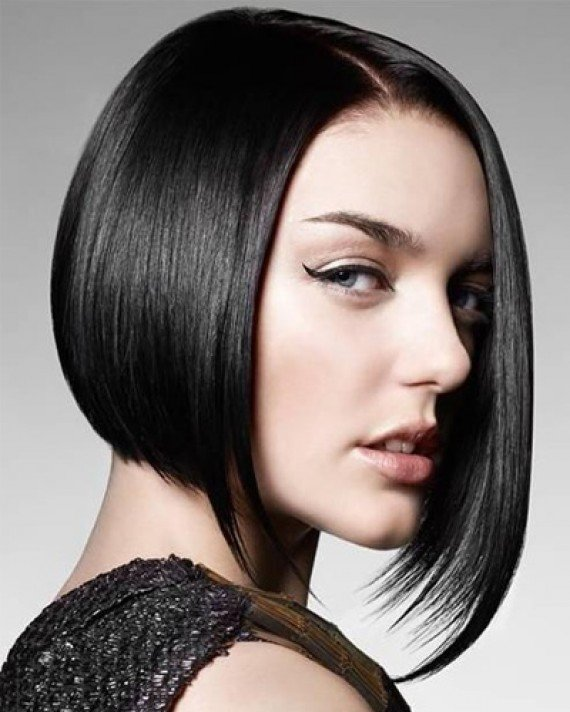 Волосы до плеч без челки каре