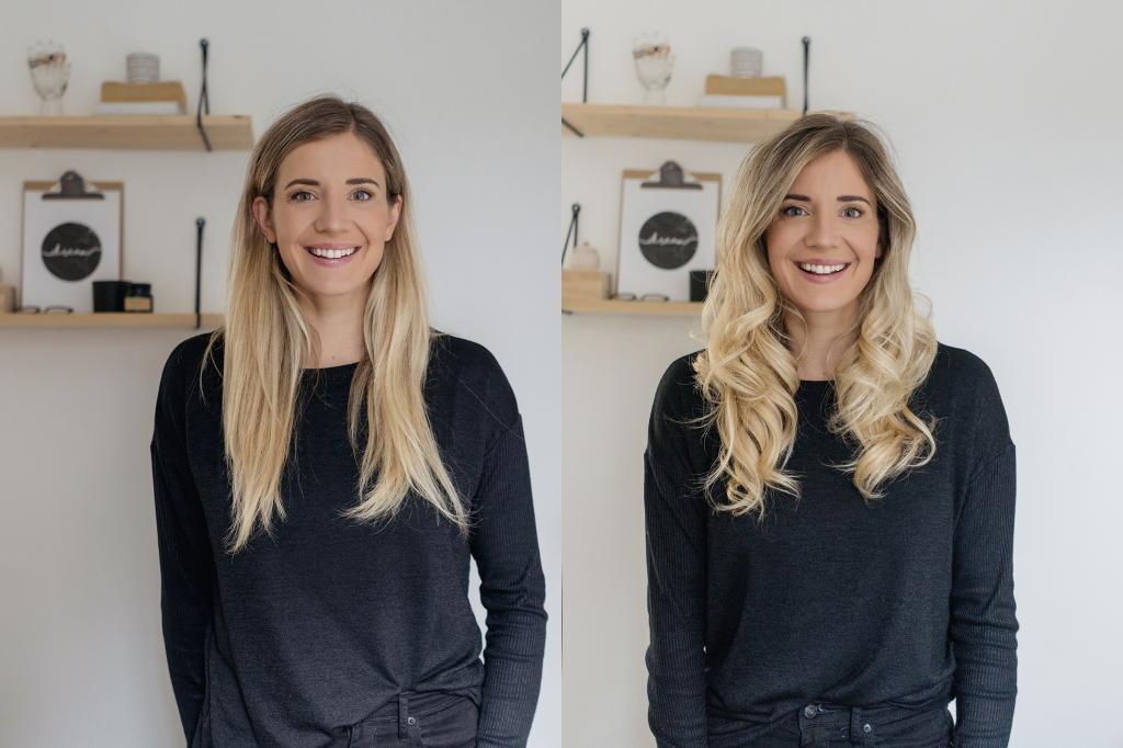 до и после накручивания волос без плойки