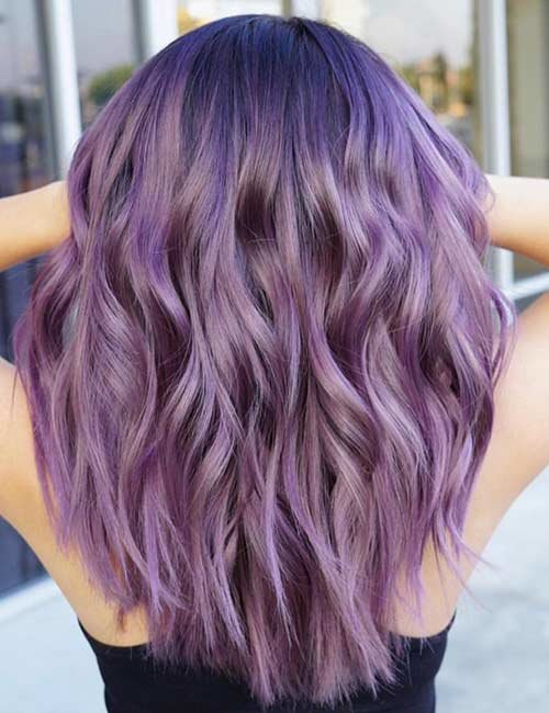 фиолетовое омбре на средних волосах