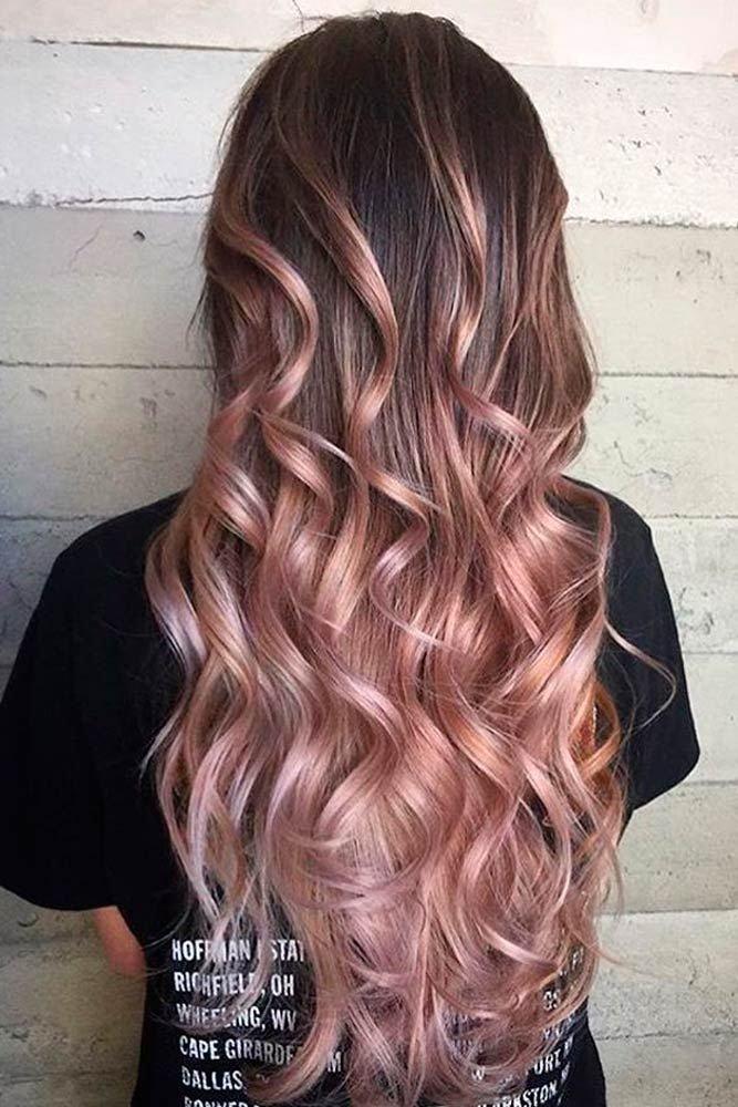 омбре персиковое на длинные волосы