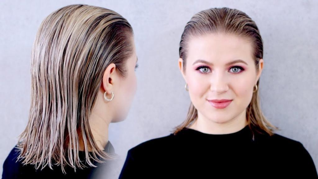 Мокрый эффект на прямых волосах