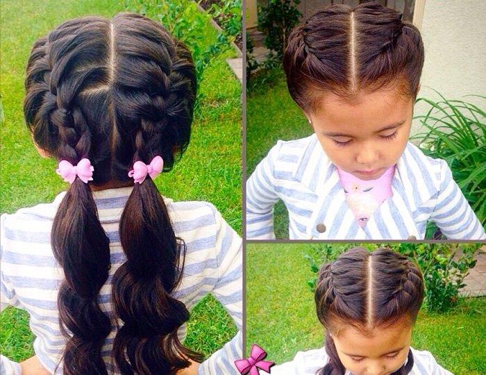 французская коса и хвостики