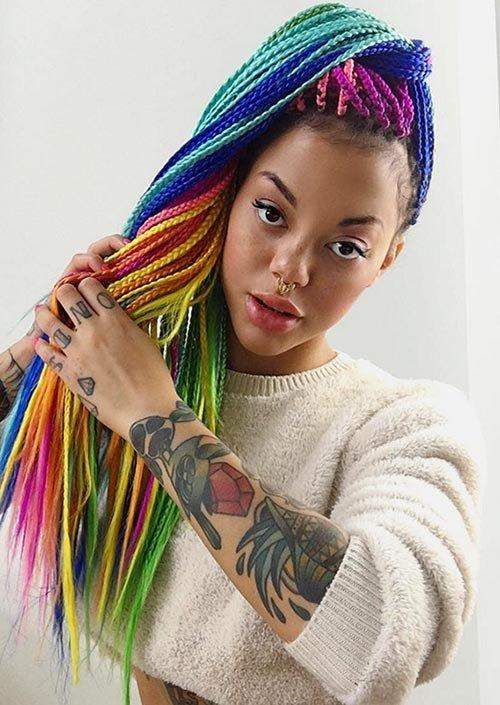 Разноцветные косички