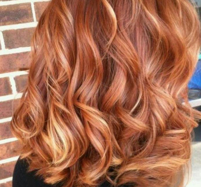 Мраморное окрашивание на рыжие волосы