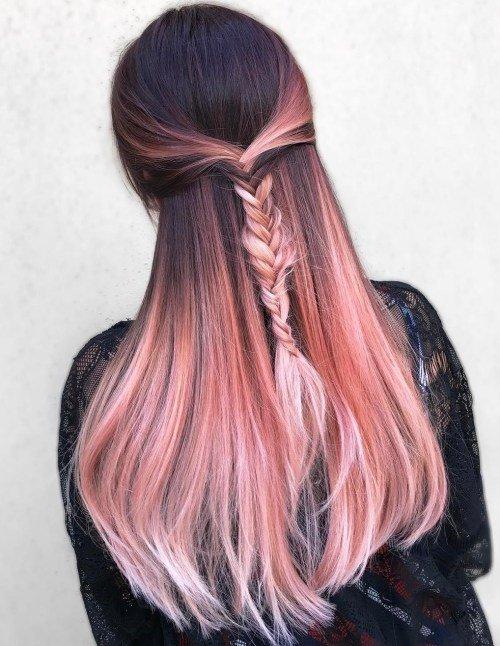 Окрашивание волос в розовое золото: фото
