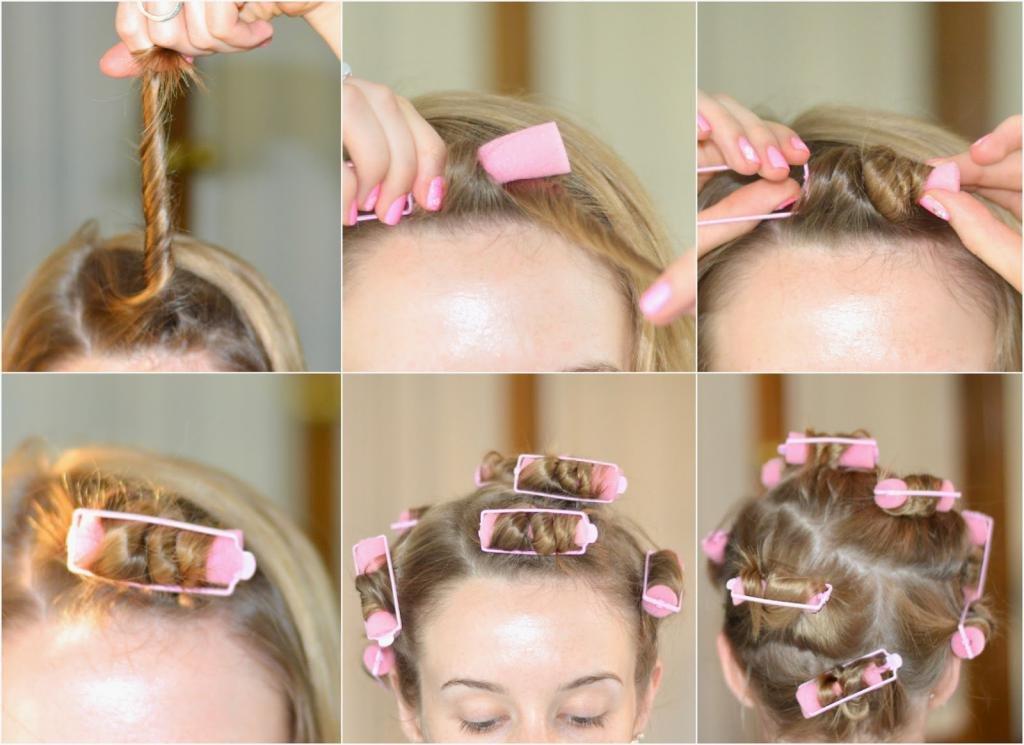 короткие волосы на бигуди папильотки