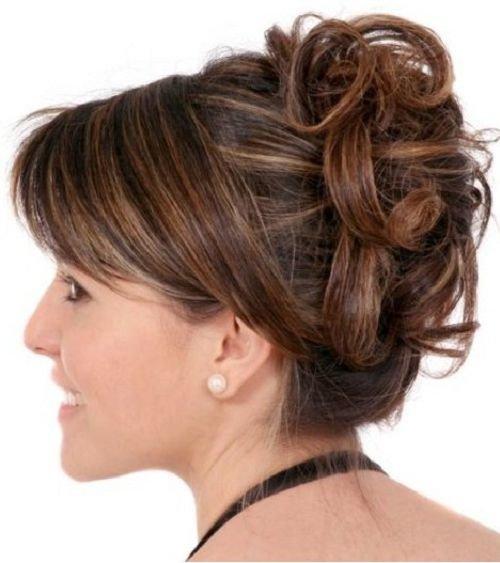 укладки на средние волосы с челкой вечерние