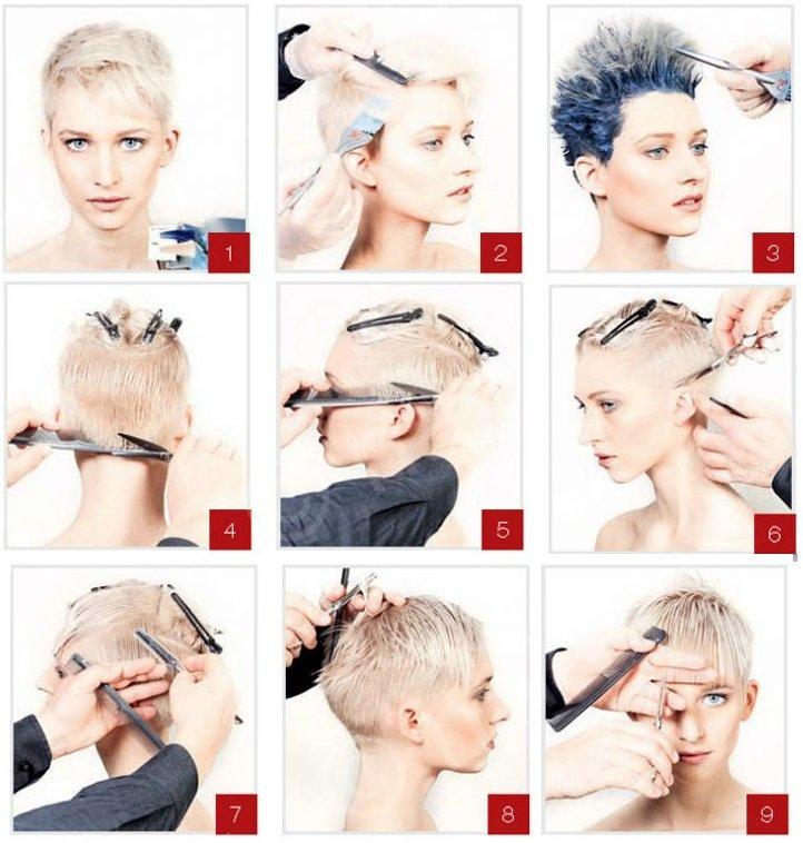Схема стрижки пикси на короткие волосы