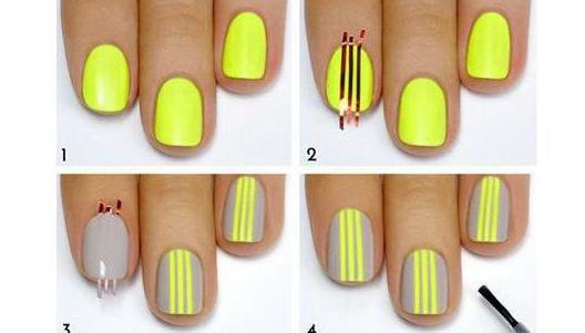 как рисовать полоски на ногтях