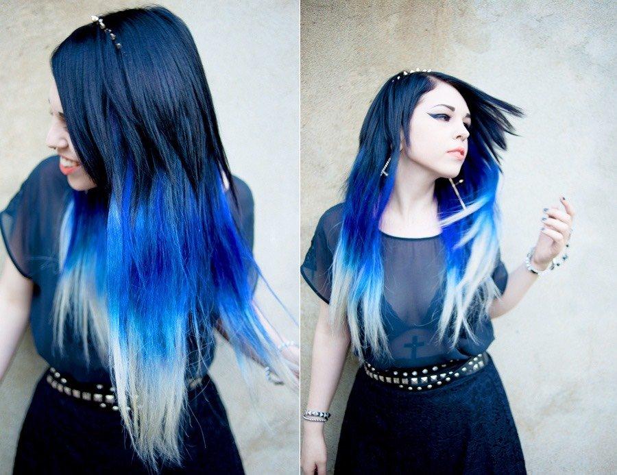 Цветной градиент на волосах
