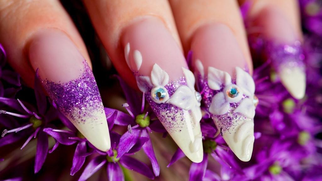 дизайн ногтей объемные цветы