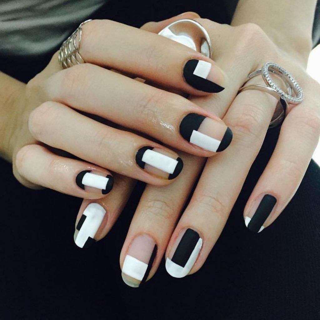 Идеи черно-белого дизайна ногтей