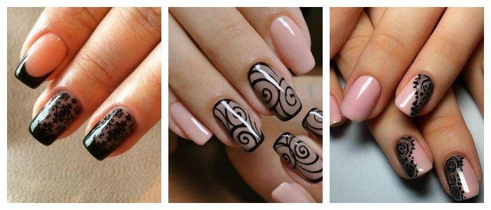 Черная вуаль на ногтях