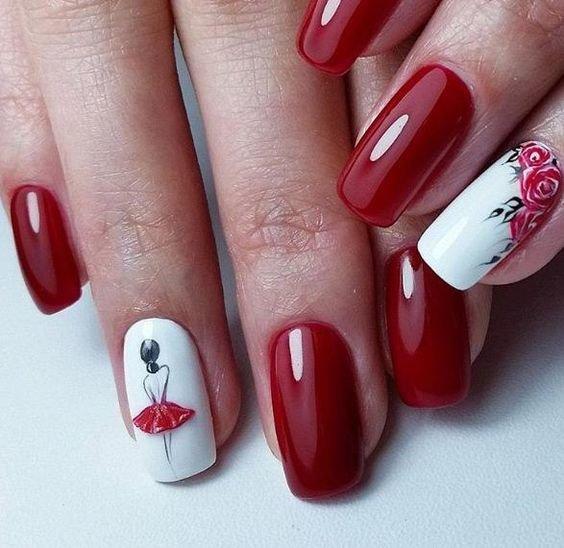 модный красный дизайн ногтей