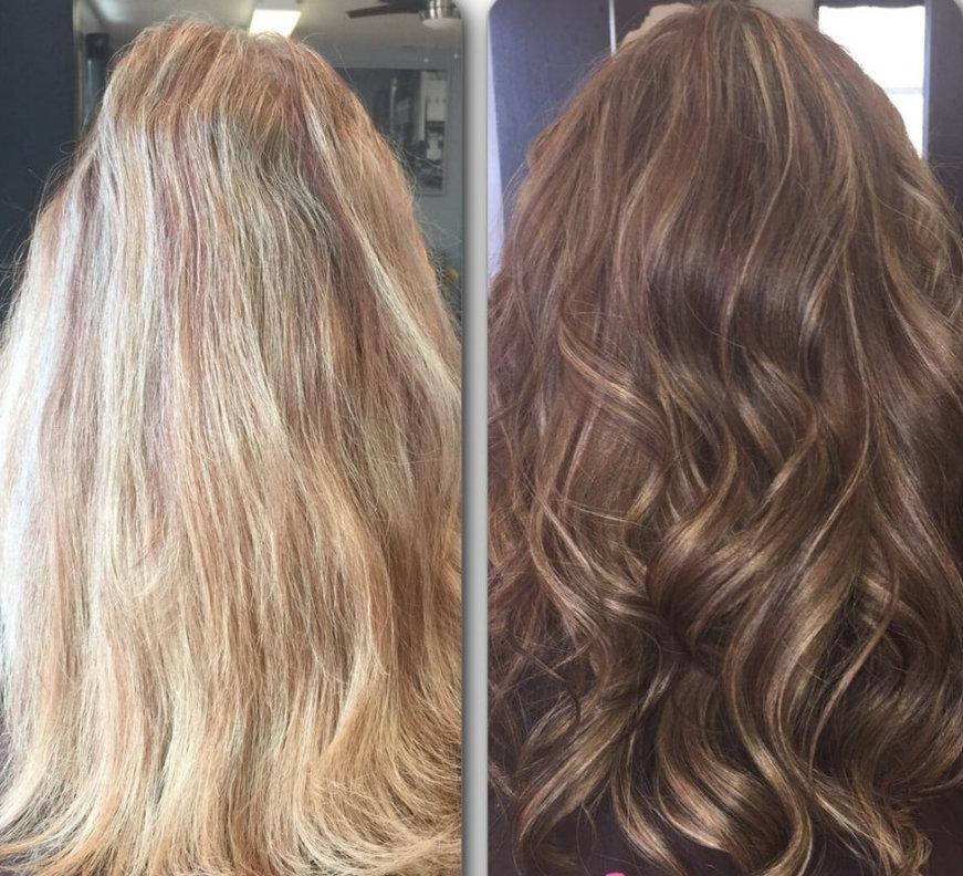 до и после окрашивания в русый