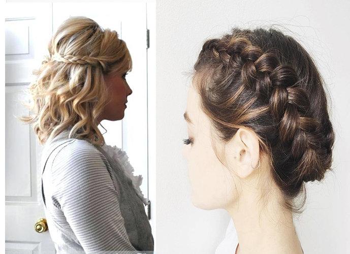 Примеры собранных коротких волос