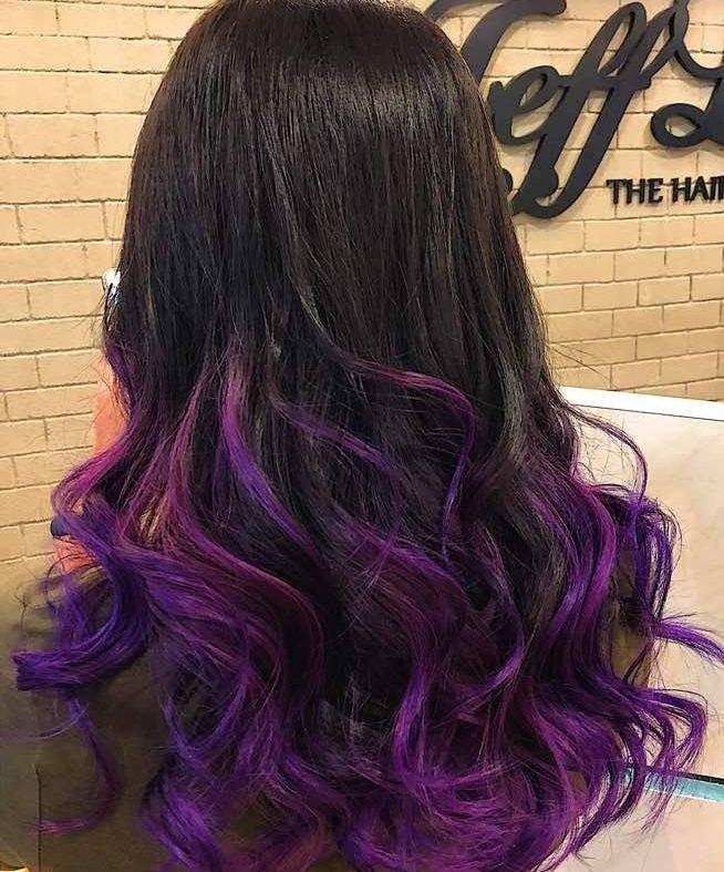 омбре с фиолетовыми волосами