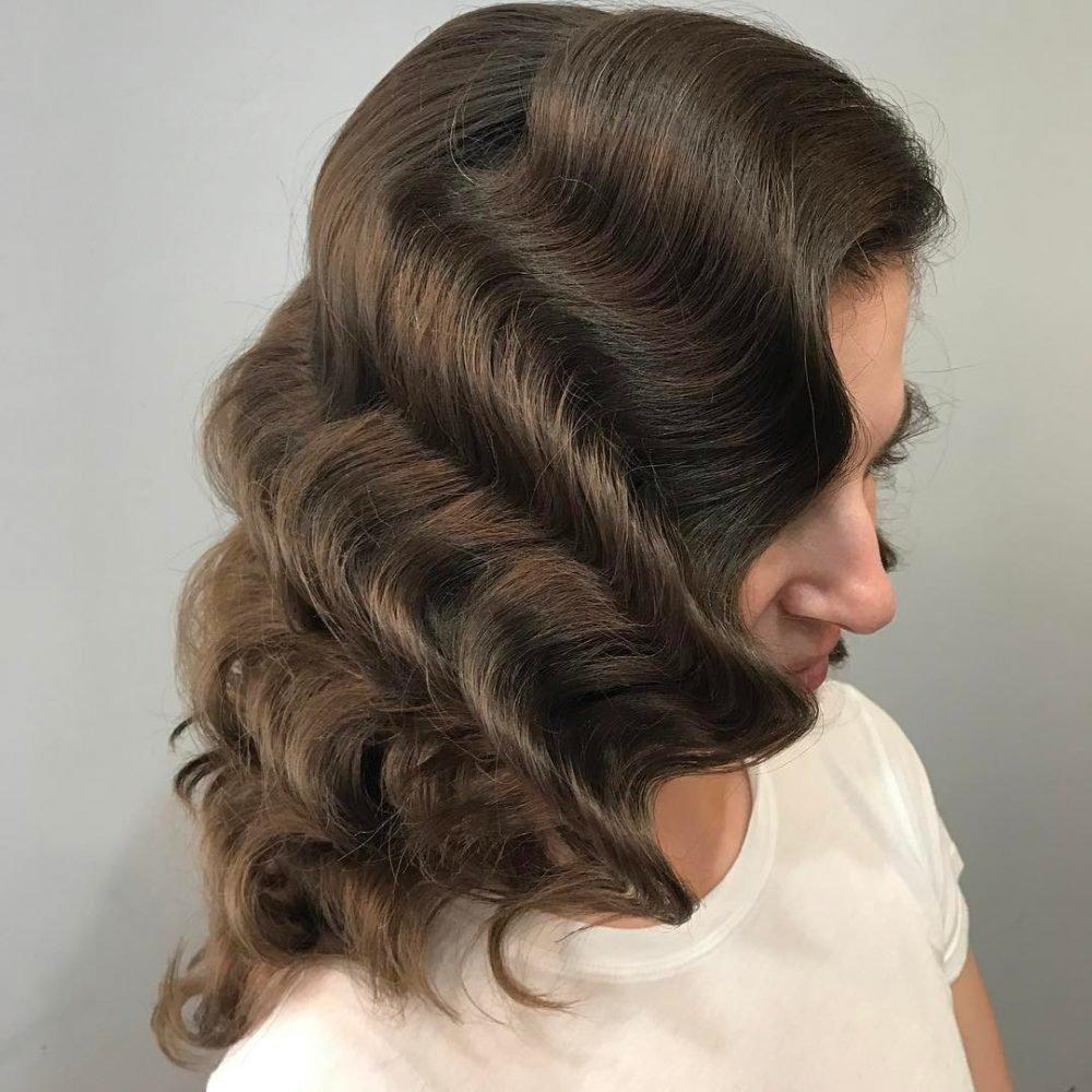 укладка голливудские локоны на средние волосы