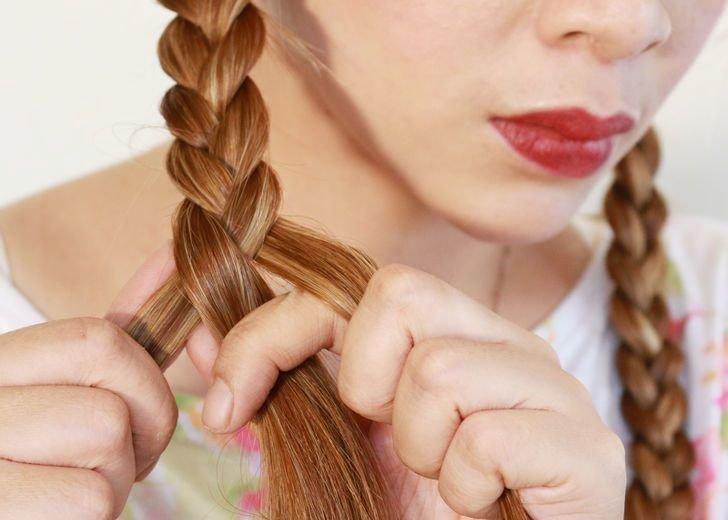 Волны на волосах при помощи кос