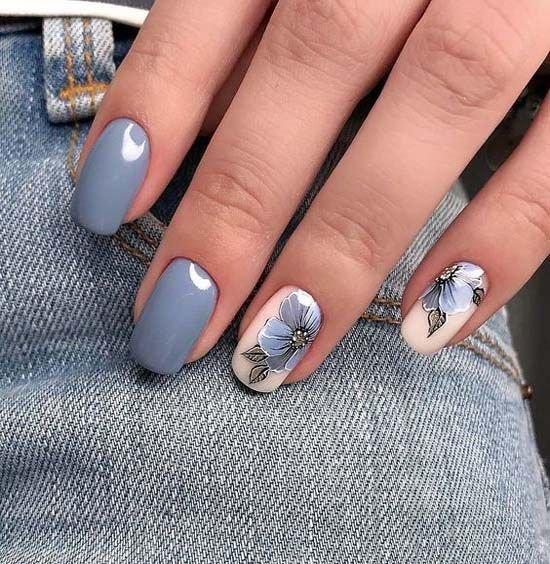 дизайн ногтей, цвет серый