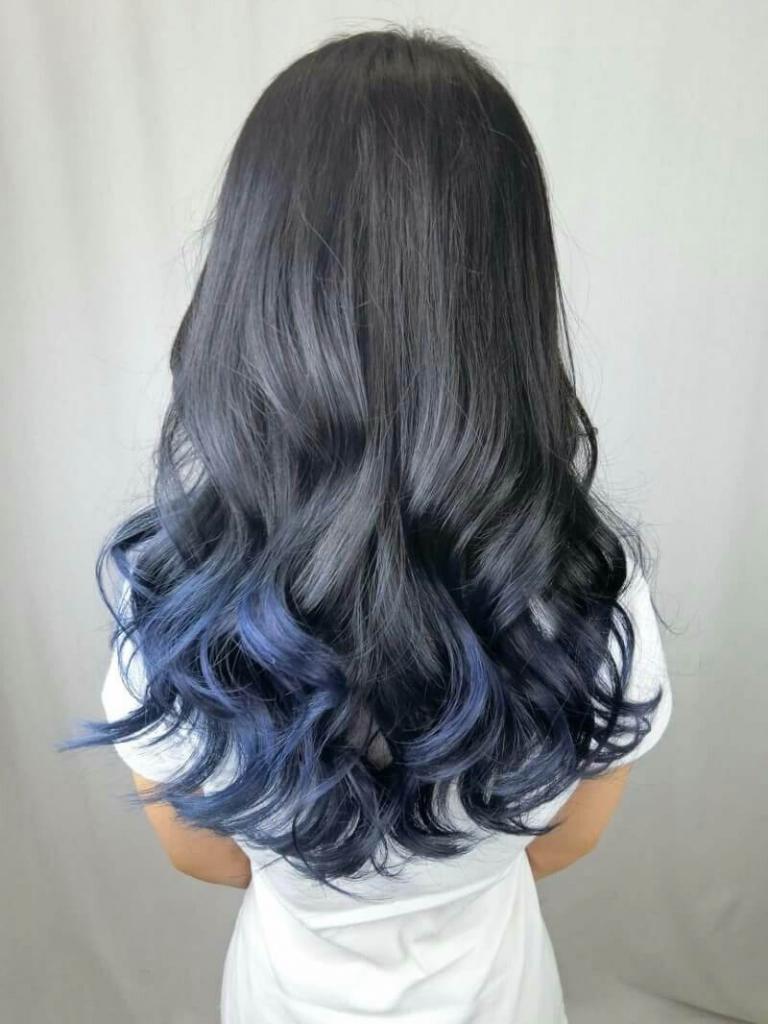 омбре синим цветом