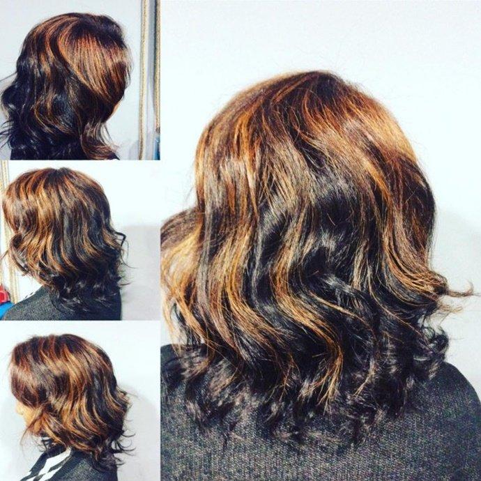 мелирование на черные длинные волосы