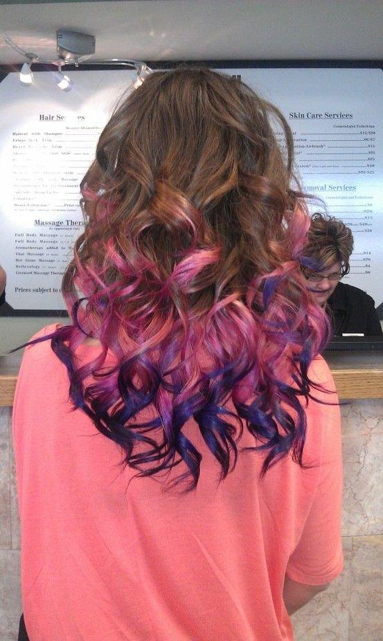 Цветное колорирование концов волос