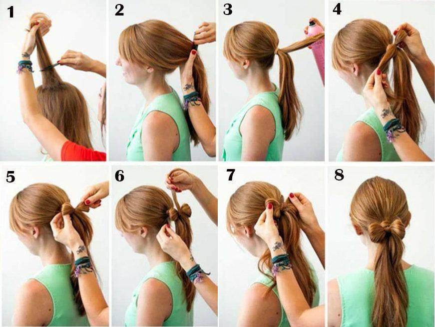 Как делать из волос бантик