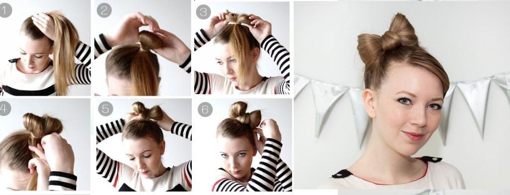 Как заплести бантик из волос