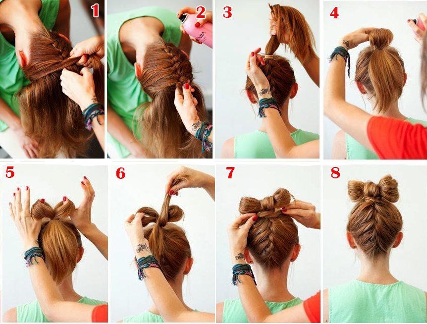 Прическа для девочки бантик из волос