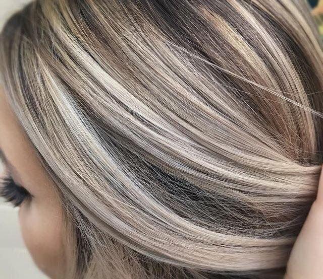 мелирование на седые волосы фото