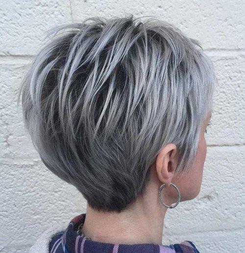 мелирование на седые короткие волосы фото