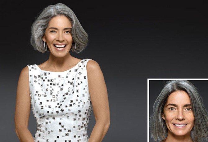 мелирование седых волос фото до и после