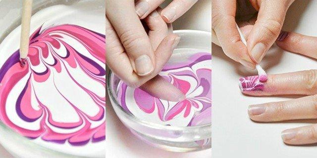 как на ногтях сделать эффект мрамора