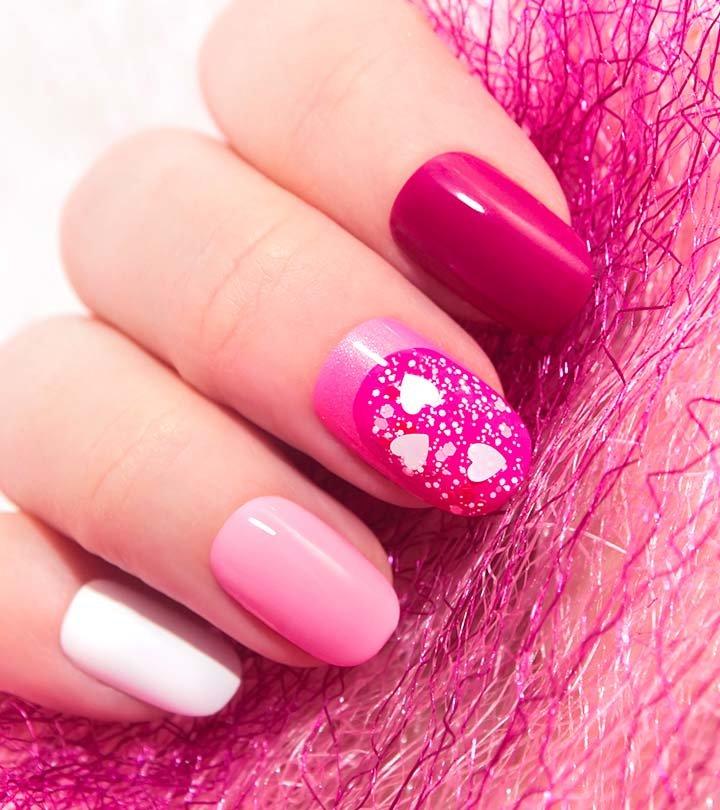 нежно розовый маникюр с блестками
