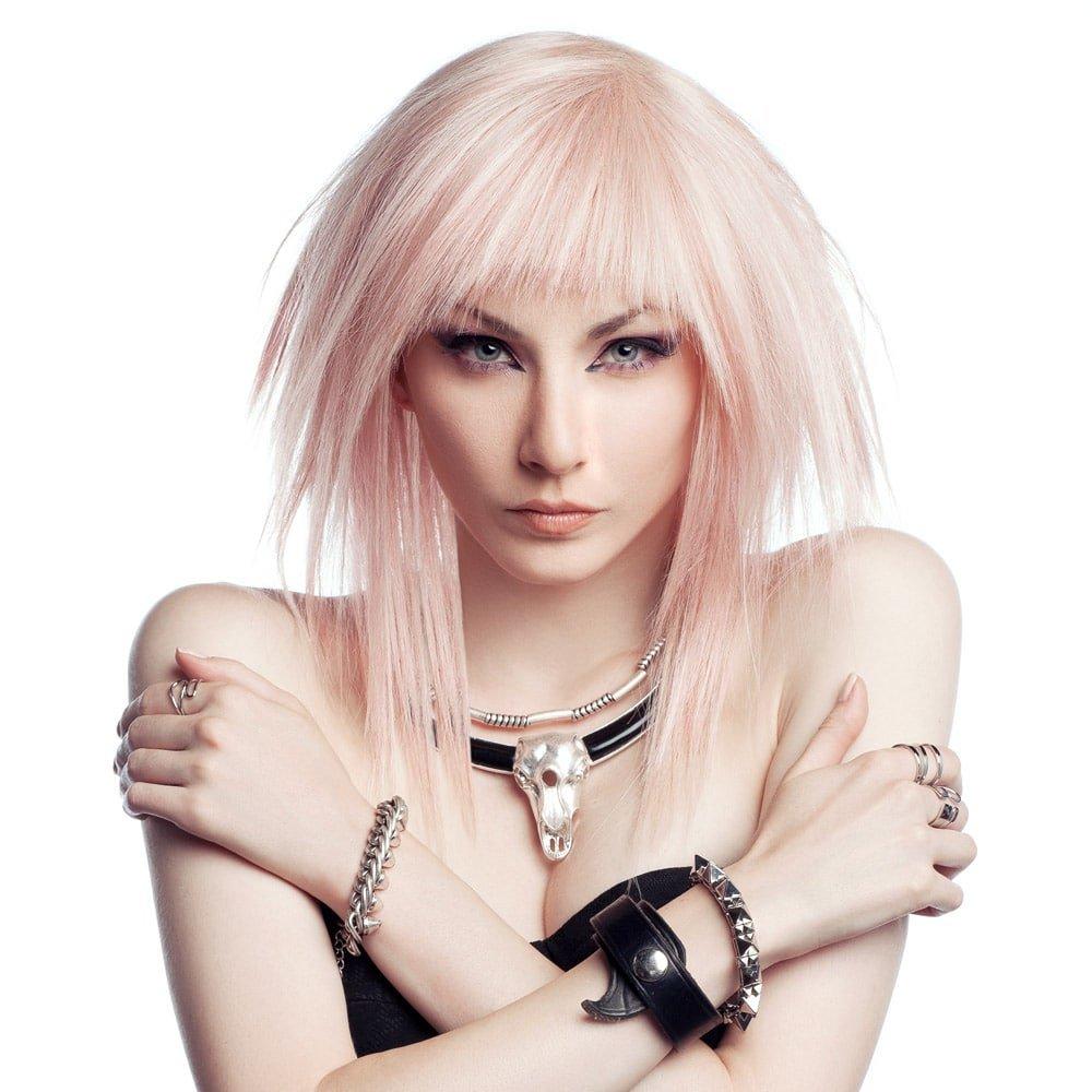 розовый оттенок волос