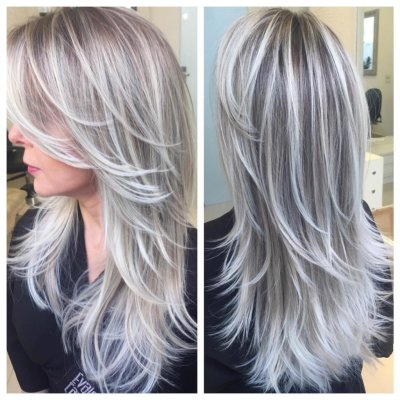 Серый цвет волос: оттенки, кому идет, фото