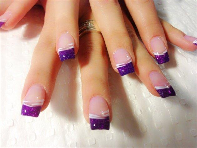 Френч фиолетовые ногти