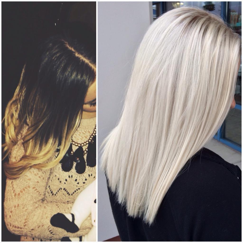 фото до и после окрашивания в платиновый блонд