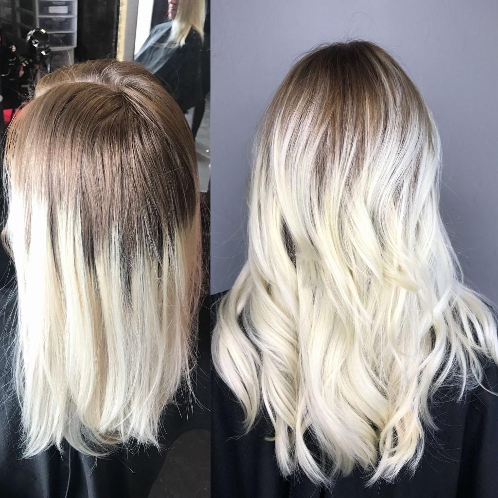 окрашивание в платиновый блонд в салоне