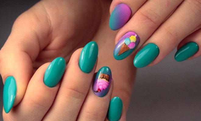 Мороженое на ногтях