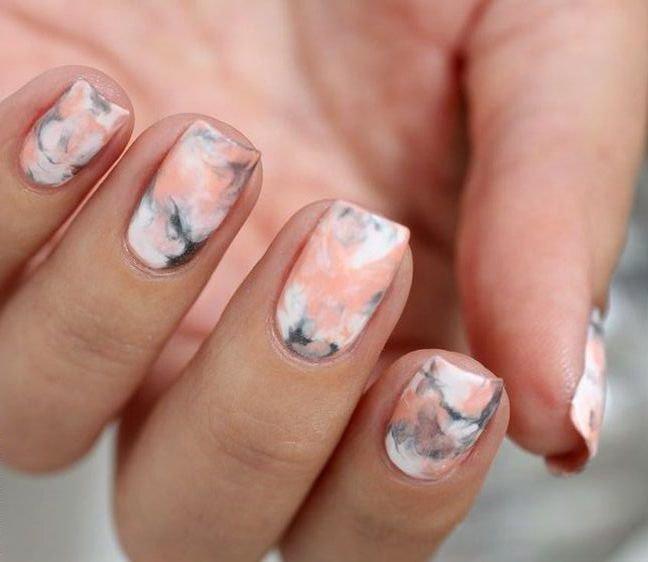 как сделать мрамор на ногтях
