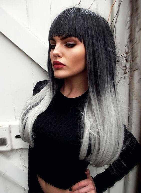 половина волос белая половина черная
